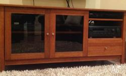 Solid timber Entertainment Unit with 2 tinted glass