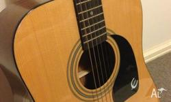 Barely used epiphone acoustic guitar with pics,