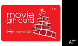 2 x $40 event cinemas movie gift card. Bought as a gift