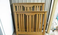 French polished oak timber federation single bed,