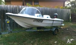 12 ft fiberglass runabout with trailer and accessories.