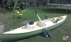 14ft fibreglass canoe. Comfortably seats 2 adults and 1