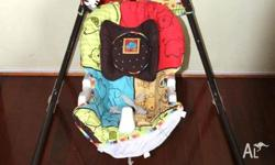 Hi Up for sale is a baby swing cradle it was a gift and