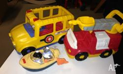 Fisher price little people bus,fire engine, boat $10
