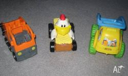 Up for sale are 2 toy cars & Fisher Price Shake n Go