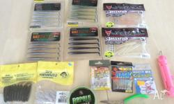 Fishing baits and some hocks They are all from Japan