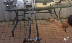 2 boat rods, 2 6 ft beach rods, 3 way boat rod holder,