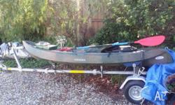 TOYZ fishing kayak, sit on padded seat, molded plastic,