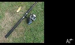 About 2m Butterworth fishing rod with Ryobi reel. Good