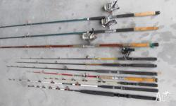 Fishing Rods - collection of 10 including penn, senator