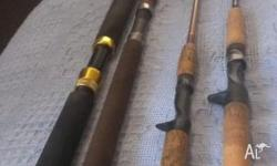 4x fishing rods for sale: Live Fibre 15-24kg overhead