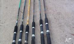 6 fishing rods 4 at 6ft , 2 at 5ft 6in , Jarvis walker