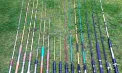 This set of 17 fishing rods includes: - 2 x Red Wolf