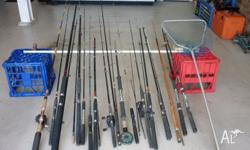For Sale: A mixture of 17 fishing rods & 1 landing net