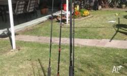3 x Rods for sale 1 Abu Garcia Muscle 6'1ft Tip 8-15kg