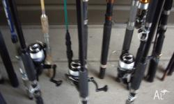 fishing rods mostly new from $5.00 20 rods or $400.00