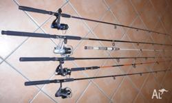 6 Fishing rods, 4 with reels and 2 without, Ideal for