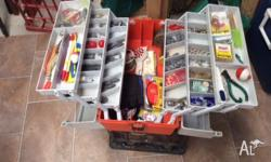 Full tackle box with lots of new stuff, assorted