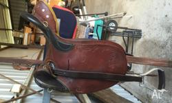 "15"" Northern River Stock Saddle, fully mounted. In"
