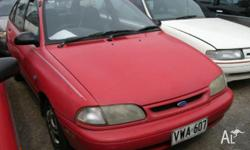 FORD, FESTIVA, WB, 1996, FWD, Red, grey trim, 3D