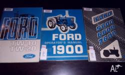 Ford Tractor Operator Manuals 1900 TW-10 TW-20 5600