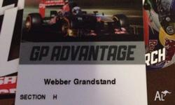 Formula 1 Grand Prix 4 Day Webber Grandstand Ticket