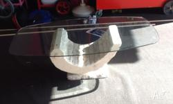 Glass top fossil stone coffee table Glass is about