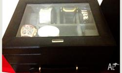 Brand new authentic FOSSIL watch and jewelry box Black