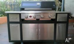 For Sale Four Burner BBQ with gas burner on the side