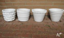 Retro White Concrete Planter Pots in four different