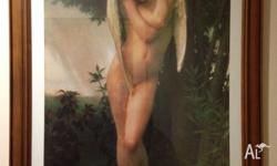 "Large quality timber framed ""Cupidon"" angel print"