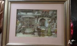 This is a framed paper tole scene of a toyshop.