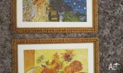 Van Gogh prints x 2, professional framed with wooden
