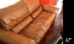 TANNED LEATHER SOFA 210 CM LONG 90 CM DEEP MUST BE