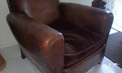 French Leather matching Club Chairs, leather, untouched