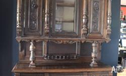 Beautiful hand carved French oak buffet. Comes apart