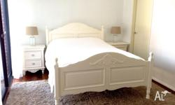 Queen size white timber bed in MINT CONDITION.
