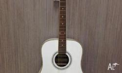 Full Size White Damé Acoustic Guitar Factory 2nd With