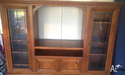 Solid Timber and lead light TV and display wall Unit.