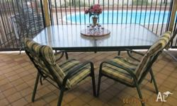 Glass Garden table and 10 chairs including green and