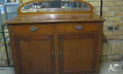 Genuine Silky Oak sideboard. Has two pull out drawers