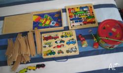 Wooden train set, blocks, two sided puzzle, magnet set,