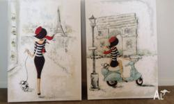 Two painting�prints of the Girls in Paris series,