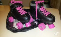 Black and Pink roller Skates. For 6+ years old, Approx