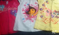Includes 6 t-shirts ( dora,pet shop,toy story and