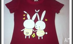 Girls Cute rabbit print top - red 1 x Size 2 1 x Size