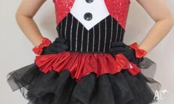 Girls red, black and white sequinned dance costume,