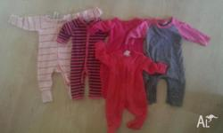 5 x girls full length onesies. Bonds and target