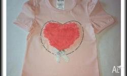 Girls heart ribbon top with bow 1 x Size 2 1 x Size 3