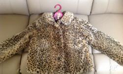 Girls Fake fur Jacket - Size12 - Leopard Print - as